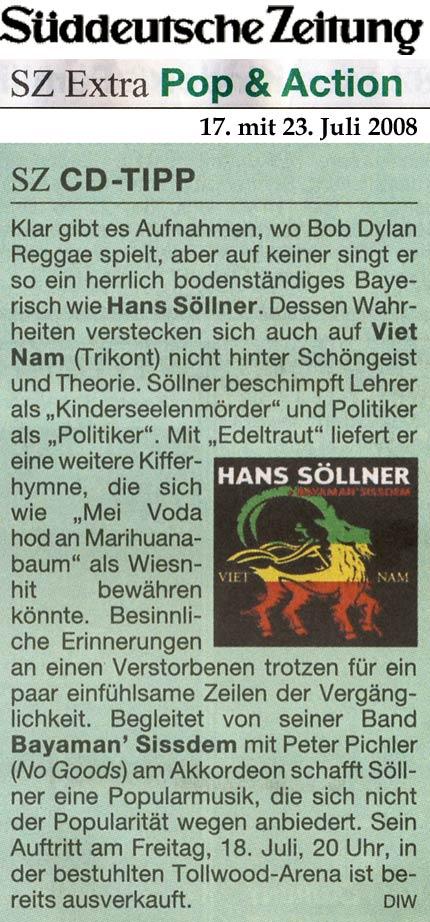 Hans Söllner beim Tollwood, Süddeutsche Zeitung