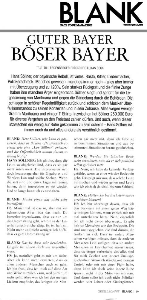 Hans Söllner Bericht in Blank