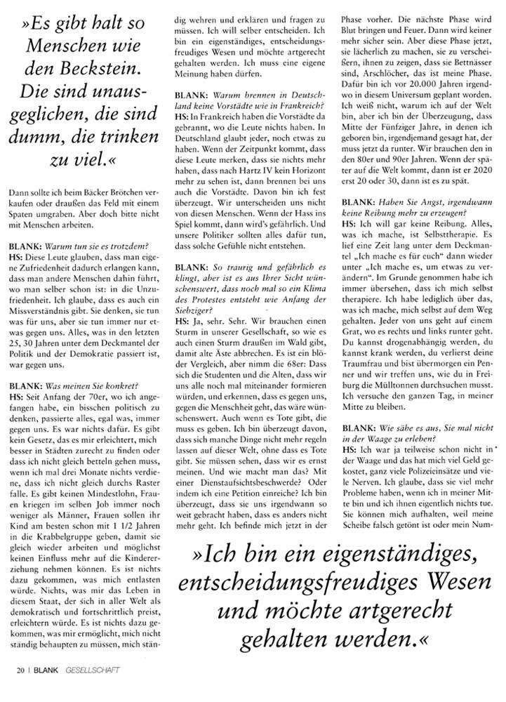 Hans Söllner Bericht in Blank2