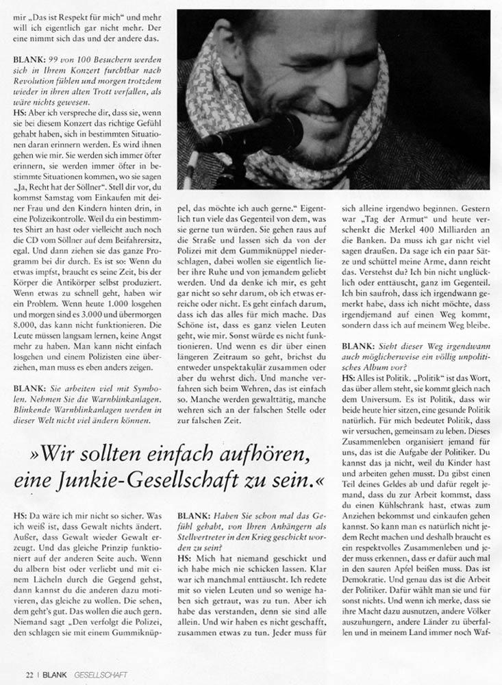 Hans Söllner Bericht in Blank4