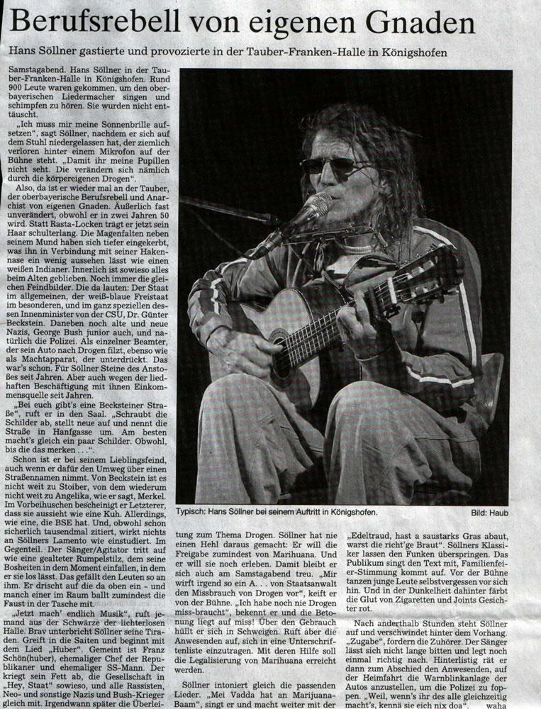 Konzertbericht, Fränkische Zeitung