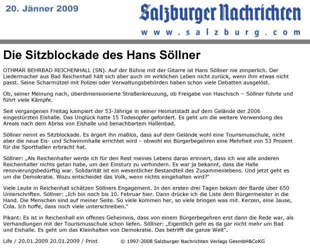 Sitzblockade, 20.01.09 Salzburger Nachrichten